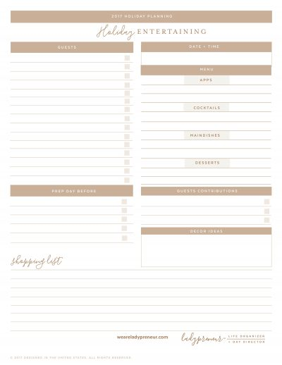 Holiday Entertaining Planning Page