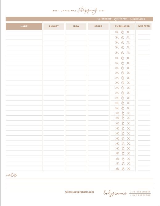 Ladypreneur Shopping List